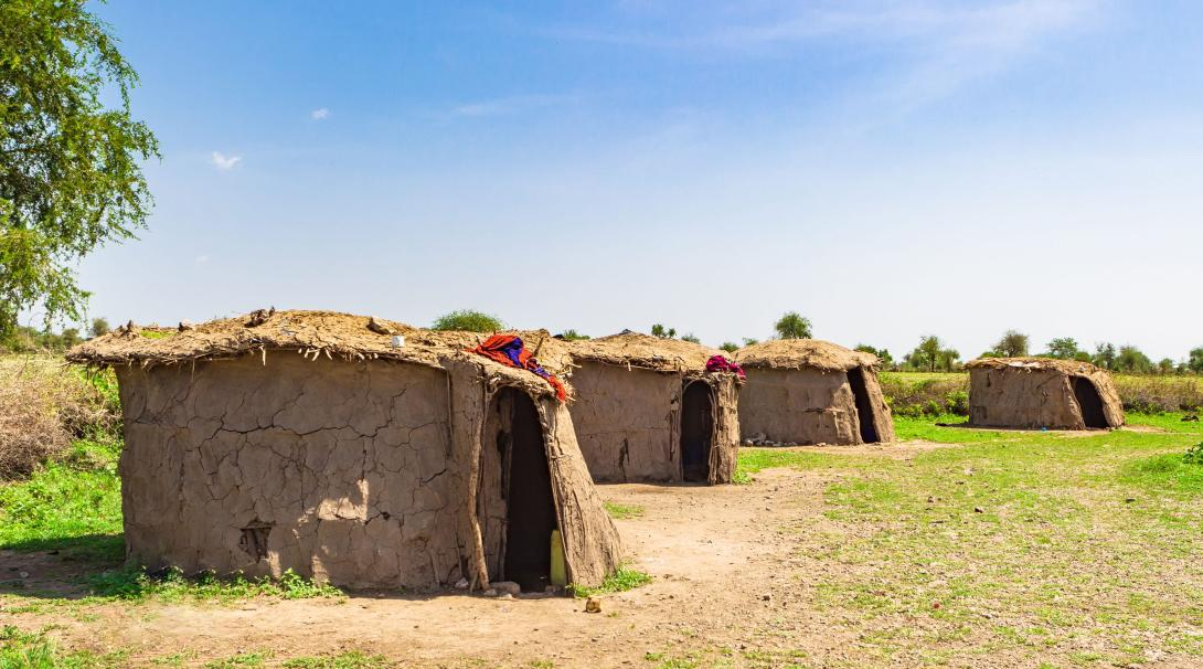 Clay huts of the Maasai Village seen during the Discovery Tour in Tanzania.